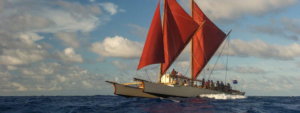 Fa'afaite, a 72 foot Vaka Moana, double masted traditional Polynesian sailing canoe.